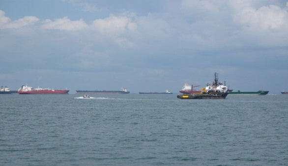 Unterwegs auf dem Wasser in Singapur