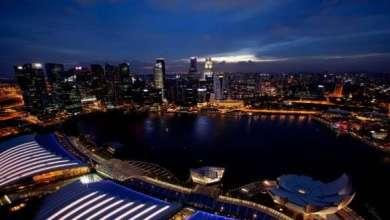 Blick von einer Rooftop Bar in Singapur
